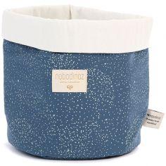 Panier de toilette en tissu Panda Gold bubble Night blue (20 x 24 cm)