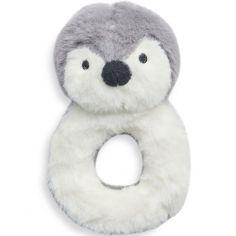 Hochet peluche Pingouin storm grey gris