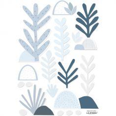 Stickers feuilles bleues (29,7 x 42 cm)