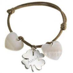 Bracelet cordon Lucky coeur (argent 925° et nacre)