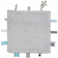Doudou attache sucette Sweet Dreaming Lovely Grey (25 x 25 cm)
