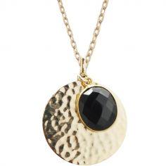 Collier médaille martelée et onyx noir chaîne 50 cm personnalisable (plaqué or)