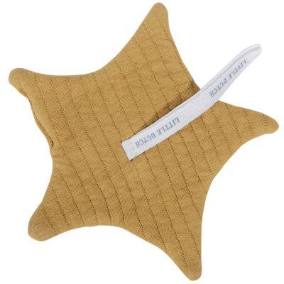 Doudou attache sucette Pure ochre (15 x 15 cm)  par Little Dutch
