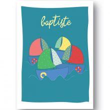 Affiche bateau Sur l'eau personnalisable (21 x 29,7 cm)  par Ourson d'Avril