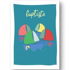 Affiche bateau Sur l'eau personnalisable (21 x 29,7 cm)