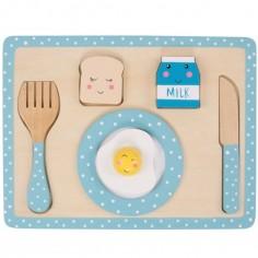 Plateau petit déjeuner Kawaii Friends en bois bleu