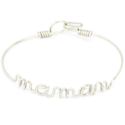 Bracelet Maman en fil d'argent 925° (16 cm)