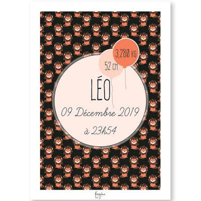 Affiche de naissance A4 Animignons Lion (personnalisable)  par Kanzilue