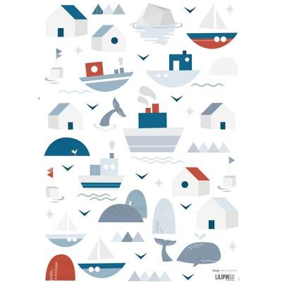 Planche de stickers A3 de bateaux et maisons  par Lilipinso