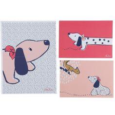 Lot de 3 affiches Amy & Zoé chien rose