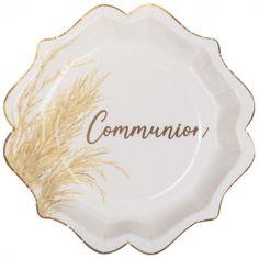 Lot de 8 assiettes en carton Communion Jolie pampa