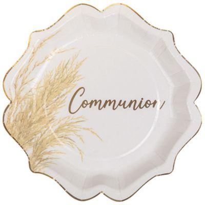 Lot de 8 assiettes en carton Communion Jolie pampa  par Arty Fêtes Factory