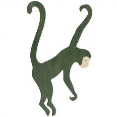 Décoration à suspendre singe en bois vert foncé Jungle Fever (20 x 35 cm)