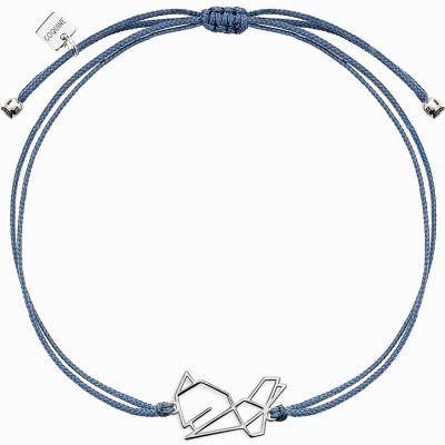 Bracelet sur cordon bleu lapin Origami (argent 925°)  par Coquine