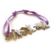 Bracelet cordon 3 enfants 17 mm (or blanc 750°) - Loupidou