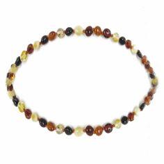 Collier enfant ambre multicolore olivettes (32 cm)