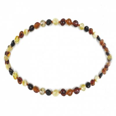 Collier enfant ambre multicolore olivettes (32 cm)  par Balticambre