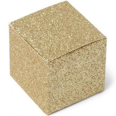 Boîtes à dragées pailletées Or (8 pièces)