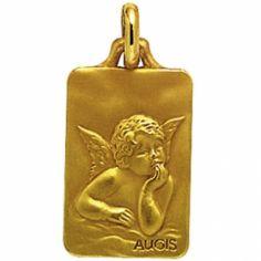 Médaille rectangulaire Ange de Raphaël 16 mm (or jaune 750°)