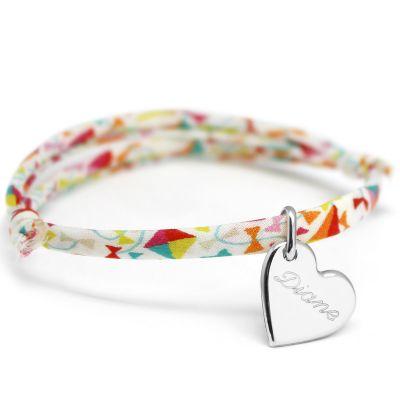 Bracelet cordon liberty Kids coeur personnalisable (argent 925°)  par Petits trésors