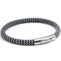 Bracelet homme Le Voyageur bleu personnalisable (acier)