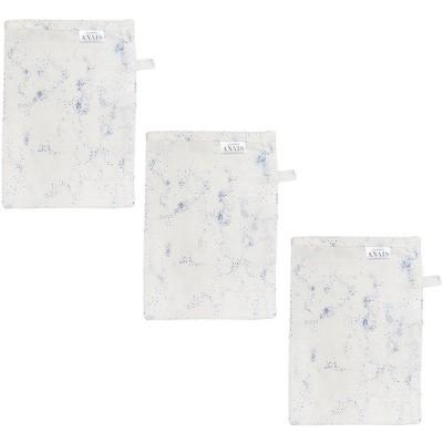 Lot de 3 gants de toilette en mousseline Cosmos  par Les Rêves d'Anaïs