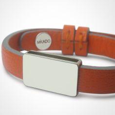 Bracelet cuir Hip-Hop Mandarine (argent 925° et cuir)