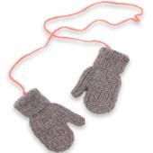 Moufles Fernand tricotées main gris et rose (2-4 ans : 86 à 104 cm) - Mamy Factory