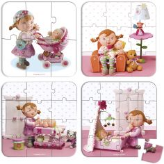 Set petits puzzles Lilou joue a la poupée (4 puzzles)