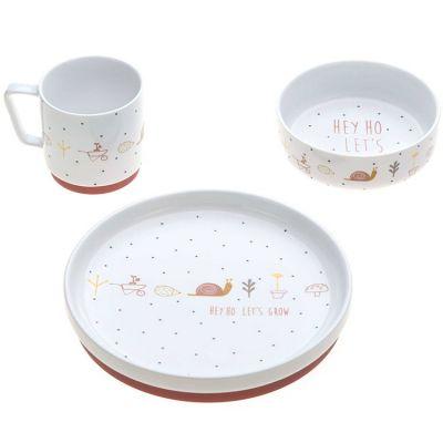 Coffret repas en porcelaine rose Garden Explorer (3 pièces)  par Lässig
