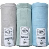 Lot de 3 langes Scandi Solid gris, bleu, vert (70 x 70 cm) - Lodger