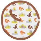 Doudou attache-sucette animaux de la forêt marron et orange - Fresk
