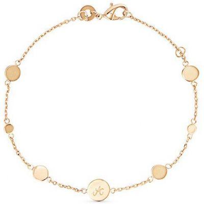 Bracelet Pastille initiale sur chaîne personnalisable (plaqué or) Merci Maman