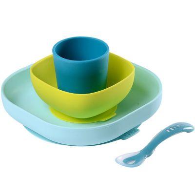 Coffret repas en silicone bleu (4 pièces)  par Béaba