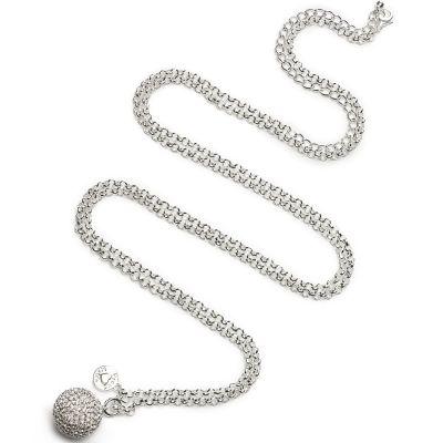 Bola sur chaîne argent Jasseron strass crystal (argent, plaqué argent)  par Proud MaMa