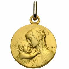Médaille ronde Vierge et enfant maternité 18 mm (or jaune 750°)