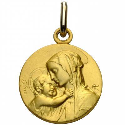 Médaille ronde Vierge et enfant maternité 18 mm (or jaune 750°)  par Premiers Bijoux