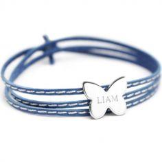Bracelet enfant cuir Amazone papillon (argent 925°)