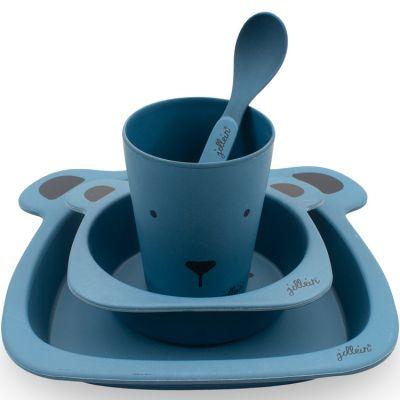 Coffret repas en bambou ours bleu (4 pièces)  par Jollein