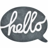 Tapis coton bulle anthracite hello Inspiring words by Sophie Cordier (90 x 65 cm) - Lilipinso