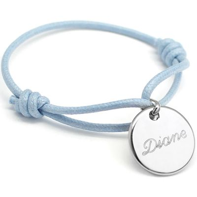 Bracelet cordon maman Kids médaille (argent 925°)  par Petits trésors