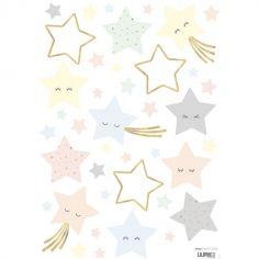 Planche de stickers A3  étoiles rieuses