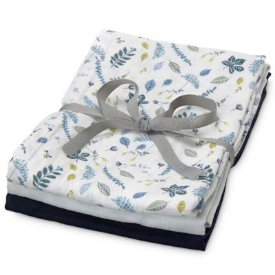 Lot de 3 langes Pressed Leaves bleu (70 x 70 cm)  par Cam Cam Copenhagen