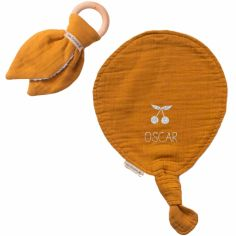 Set de naissance Doudou ballon et anneau de dentition Jaune moutarde (personnalisable)