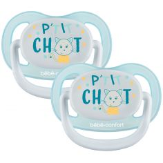 Lot de 2 sucettes physiologiques Air confort P'tit chat (0-6 mois)