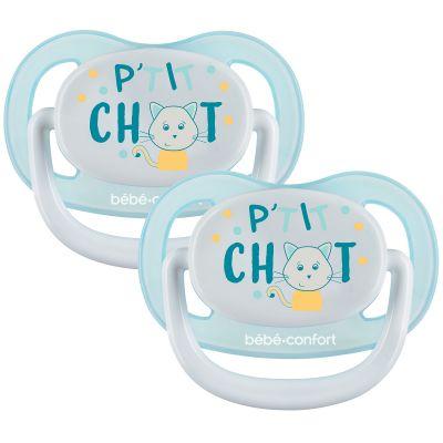 Lot de 2 sucettes physiologiques Air confort P'tit chat (0-6 mois)  par Bébé Confort