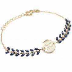Bracelet épi bleu nuit personnalisable (plaqué or, émail)