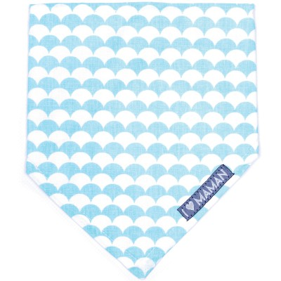 Bavoir bandana I love maman Ecailles turquoise et blanc  par BB & Co