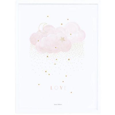 Affiche encadrée Stardust Sweet Love rose (30 x 40 cm)  par Lilipinso