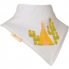Bavoir bandana Tipi et cactus blanc
